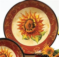 Tuscan Sunflower Dinnerware | Tuscan Sunflowers Pasta/Serving Bowl 13 inches by Tre Sorelle Studios ...