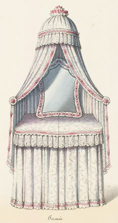Without reading the article, I'm going to guess that this is an early 1900's skirted vanity, with a canopy for privacy. 1920s Dressing Table, Dressing Table Design, Dressing Table Vanity, Vanity Tables, Dressing Tables, Interior Design Sketches, Interior Design Inspiration, Royal Bedroom, Victorian Bedroom