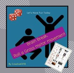 Print and laminate board.  Students roll a die to see which movement they must complete. Great small group or full classroom motor break. A variety of game boards are provided.  Traditional and number dice as well as ones with picture models with words and just the words to describe the exercises.Please remember to rate products for TpT credits.
