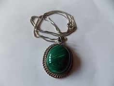 Vintage Malachite Silver Necklace BIG by BraceletstoBuckles