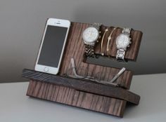 Night Stand Oak Wood Valet iPhone Galaxy Charging Stand Nightstand Dock Graduation Father's Day Birthday For Him