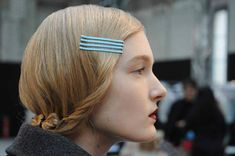 blue bobby pins & red lips... perfect for fall-winter. [from honey kennedy blog.]