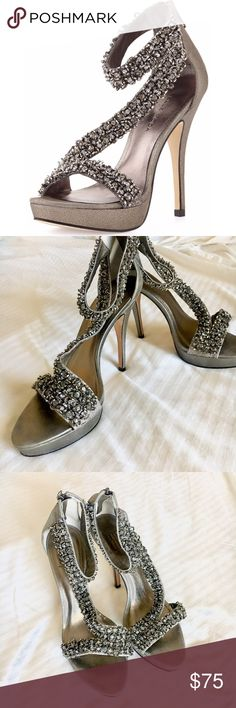"""Pelle Moda """"Favilla"""" Absolutely stunning Pelle Moda """"Favilla"""" originally purchased for $179+tax and sold out at Neiman Marcus. These are in excellent condition! Please use """"Offer"""" button to submit your offers!   Pewter metallic, iridescent suede upper, leather sole, embellished (glass) evening sandals. Ankle strap with back zipper. Heel height 5"""" platform 1"""". Neiman Marcus Shoes Sandals"""