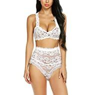 Amazon.com - Womens Bras, Panties & Lingerie Collections Lace Lingerie Set, Sexy Lingerie, Wedding Lingerie, Lace French Knickers, High Waisted Lingerie, Bra And Panty Sets, Sexy Bra, Lingerie Collection, Lace Bralette