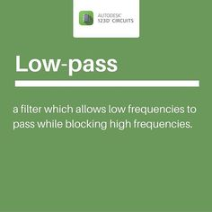 A low-pass is a filter which allows low frequencies to pass while blocking high frequencies.  #design #diy #make #project #teacher #science #create #learning #learn #engineering #electric #engineer #physics #electronics #experiment #STEAM #STEM #robotics #robot #maker #electrical #arduino #autodesk #circuits #sensor #electronicslab #sensorproject #circuitsimulator #sensordesign #workshop by 123dcircuits