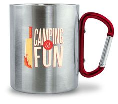 Camping is Fun Tassse | Edelstahltasse mit Karabinergriff - camping-macht-gluecklich.myshopify.com – Cool Camping Beer, Mugs, Cool Stuff, Tableware, Gifts For Campers, Amazing Gifts, Camper, Root Beer, Ale