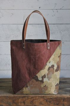 1930's era Canvas & Cloud Camo Tote Bag: