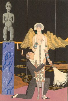 Le Soir, George Barbier This painting has a Great Gatsby feel to it, as the Art Deco style is in the same time period Art And Illustration, Art Deco Posters, Vintage Posters, Vintage Art, Arte Art Deco, Estilo Art Deco, Harlem Renaissance, Art Nouveau, Art Deco Paintings