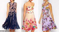 floral midi prom dresses in chiffon or scuba