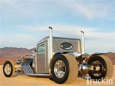 """Peterbuilt cab-reduction, engine is a 1974, V12-71 Detroit Diesel two stroke, with two 6-71 superchargers (71 represents the displacement per cylinder), 852 cubic in. displacement overall, or 14 liters; built on a custom chassis designed to support the 4,500 lbs. of engine weight. ~ M.S.M. Gish ~ Miks' Pics """"Street Legal"""" board @ http://www.pinterest.com/msmgish/street-legal/"""