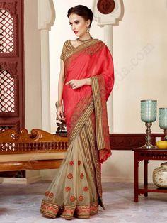 Двухцветное праздничное индийское сари, украшенное вышивкой люрексом, бисером и бусинками