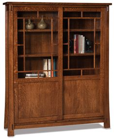 Up to 33% Off Modesto Mission Sliding Door Bookcase | Handcrafted Solid Wood Amish Furniture