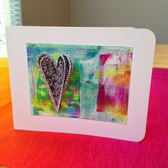 Made by Nicole: Gelli Printed Heart Card; made with a hand carved heart stamp.