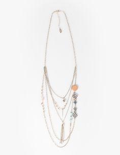 Chain and stonework necklace - NECKLACES - Stradivarius Egypt