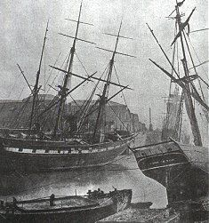 Early photo of Swansea.  1850.  Swansea's sea port would essentially have looked the same when Fanny arrived in 1816.