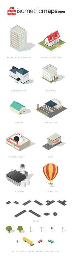 Isometric City Map Elements | GraphicBurger