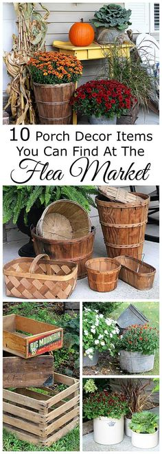 Some of the best fall porch decor can be found at flea markets, festivals, fairs, barn sales and estate sales. They are a great place to pick up inexpensive rustic farmhouse decor for the porch.