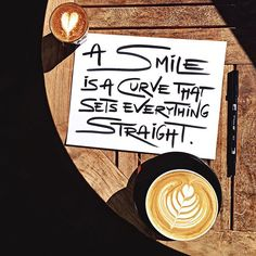 A smile is a curve that sets everything straight  A coffee moment with my mom who flew in yesterday, talking and laughing. Remember, my dear heart, the importance of a smile today.  Tag someone who makes you smile! 😄