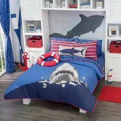 Elegant New Boys Navy Blue Sea Shark Comforter Bedding Sheet Set Reversible In Home  U0026 Garden, Kids U0026 Teens At Home, Bedding
