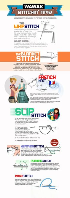 WAWAK's Graphical Guide to Popular Hand-Stitch Techniques