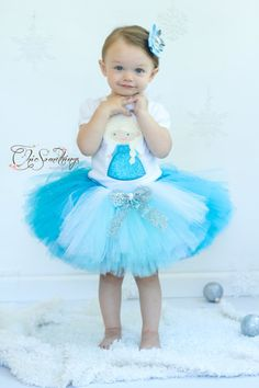 "Your princess won't want to ""let this tutu go!"" This is my most glitter-fabulous tutu yet! Tutu is made with turquoise, white and ice blue tulle...and lots of glitter and glitzy tulle and ribbons. #chicsomethings #tutu #frozen"