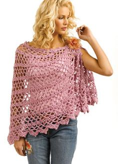 Ravelry: Crochet Shawl pattern by Doris Chan. Publilshed only in a Tahki yarns booklet that is now out of print. Poncho Au Crochet, Pull Crochet, Mode Crochet, Crochet Shawls And Wraps, Crochet Scarves, Crochet Clothes, Crochet Stitches, Crochet Top, Ravelry Crochet