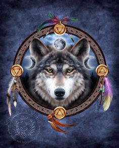 The Wolf Guide ~ Native American style 'shield' with the wolf, moon symbols, and the symbols of the 4 elementals ~ the blend just says me!!