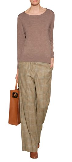 A high-style take on the classic pant, this wool iteration from Maison Martin Margiela features a contemporary wide leg and and pastel-detailed plaid #Stylebop