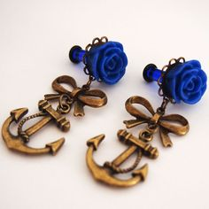 6g 4mm Royal Blue Anchors Aweigh Nautical Dangle by Glamsquared, $25.00
