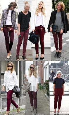 Maroon or burgundy pants outfits Burgundy Jeans Outfit, Maroon Pants Outfit, Burgundy Skinny Jeans, Maroon Jeans, Oxblood Pants, Outfits With Green Pants, Olive Pants Outfit, Colored Jeans Outfits, Jeans Outfit For Work