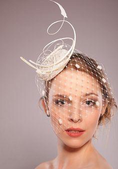 BridalIvoryHeadpieceFeatherFascinatoHeadPieceHalfVeilwithSpotsRomantic by EllaGajewskaHATS, £99.00