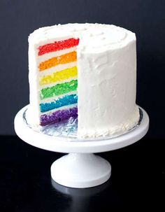 Potential Plain White decoration cake to hold cake topper, rainbow inside? Will have to check with cake maker to see if we can do Tres Leches with something like this :)