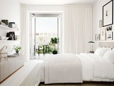 (Love the floor to ceiling curtains!) White and beige bedroom with a viewWhite and beige bedroom with a view. home decor and interior decorating ideas. Eyebrow Makeup Tips Home Interior, Interior Architecture, Interior Design, Vintage Architecture, Interior Livingroom, Interior Plants, Design Interiors, Interior Ideas, Suites