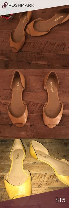 Nine West mustard flats I love these but they are too snug. Size 5 1/2. Wear shown on the part you place your foot Nine West Shoes Flats & Loafers