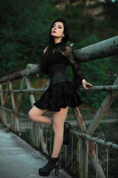 Dark in Love Black Gothic Lace Sleeve Sexy T-Shirt for Women Hot Goth Girls, Gothic Girls, Dark Fashion, Gothic Fashion, Goth Look, Goth Style, Goth Beauty, Dark Beauty, Apocalyptic Fashion