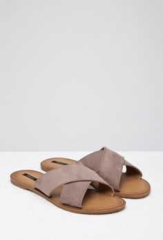 Faux Suede Crisscross Slides   Forever 21 - $17.90 Pink or Green, Size 7