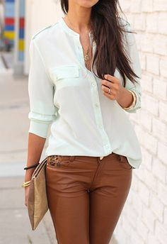 brown leather pants.