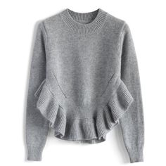 Adorable Frilling Hemline Sweater in Grey - Sweaters - Tops - Retro, Indie and Unique Fashion Fashion Brand, Womens Fashion, Knit Fashion, Looks Black, Looks Cool, Vintage Tops, Unique Fashion, Retro Fashion, Grey Sweater