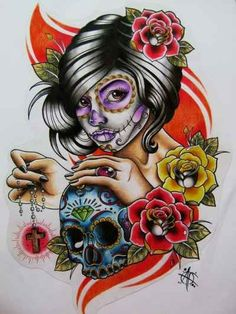 Day of the Dead Sugar Skull Girl Artwork
