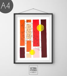 Orange Red and Burgundy Abstract Geometric A4 Print
