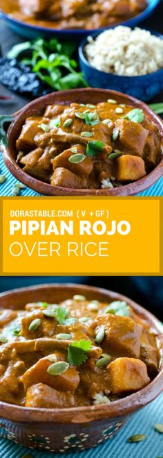Pipian Rojo Over Rice recipe is perfect for the coming fall and winter months. T… Pipian Rojo Over Rice recipe is perfect for the coming fall and winter months. The sauce is very hearty and made with roasted pumpkin seeds. Vegan Mexican Recipes, Best Vegan Recipes, Vegan Dinner Recipes, Vegetarian Recipes Easy, Vegan Dinners, Rice Recipes, Lunch Recipes, Vegetable Recipes, Vegan Potluck
