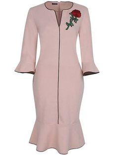 Sweet Heart Fishtail Hem Plain Blend Bodycon Dress