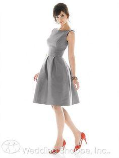 Alfred Sung D448: A modest and modern high neckline bridesmaid dress.