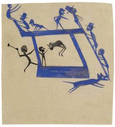 Watercolour & graphite on cardboard. Bill Traylor worked from a wooden box on the streets of Alabama #art #AmericanFolkArt #naiveart #outsiderart #outsiderartist #drawing #painting #simpleart #BillTraylor For the lives, work, homes & studios of artists visit www.ompomhappy.com