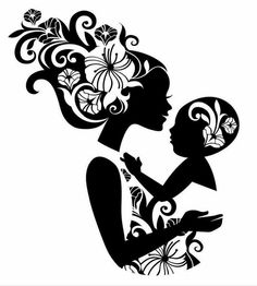 """Buy the royalty-free Stock vector """"Beautiful mother silhouette with baby in a sling. Illustration Blume, Illustration Vector, Floral Illustrations, Machine Silhouette Portrait, Silhouette Art, Belle Silhouette, Mother Tattoos, Baby Tattoos, Buch Design"""