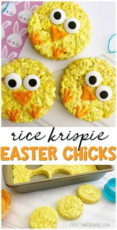 Make some cute rice krispie easter chicks for a Easter treat idea! Kids easter d… Make some cute rice krispie easter chicks for a Easter treat idea! Easy to make and the kids can help. Easy Easter Desserts, Easter Snacks, Spring Desserts, Easter Food, Easter Appetizers, Easter Baking Ideas, Easter Ideas For Kids, Easter Eggs, Easter Deserts