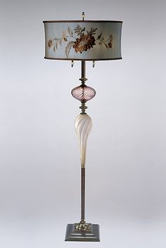 Joel: Caryn Kinzig and Susan Kinzig: Mixed-Media Floor Lamp - Artful Home.  Love the blown glass stem and the embroidered dupioni silk shade!