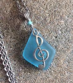 "Music Note Brightest Blue Sea Glass Jewelry Necklace 24"" Valentine  | eBay"