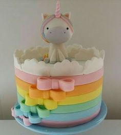 Awesome Birthday Party Ideas for Girls – Unicorn Cake Baby Cakes, Girl Cakes, Pretty Cakes, Cute Cakes, How To Make A Unicorn Cake, Savoury Cake, Creative Cakes, Fondant Cakes, Celebration Cakes