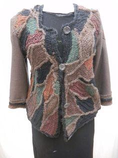 @Woodlands@ 100% wool freeform crochet jacket , longer in the front, shorter in the back at www.msemmasdesigns.com $155.00